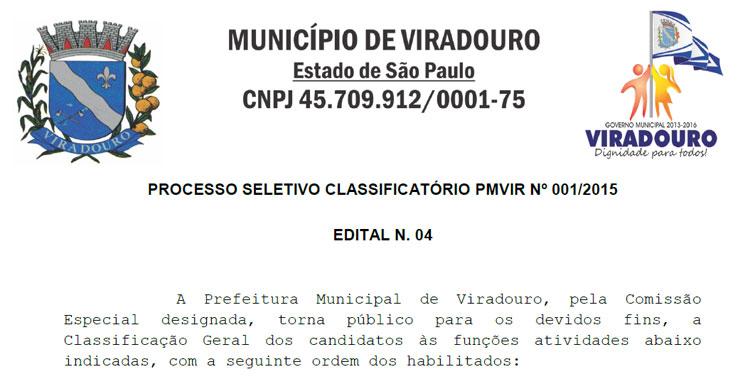 PROCESSO SELETIVO CLASSIFICATÓRIO PMVIR Nº 001/2015