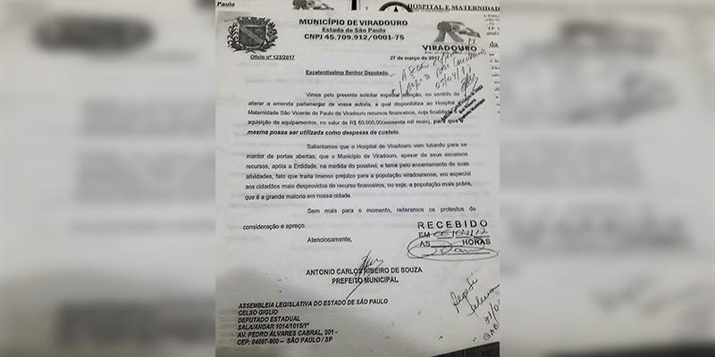 DEPUTADO CELSO GIGLIO ATENDE PEDIDO DO PREFEITO E DO PROVEDOR DO HOSPITAL