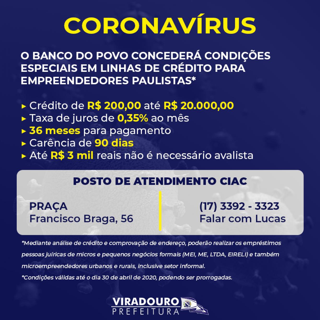 CoronaVírus: Atenção Empreendedores Viradourenses!