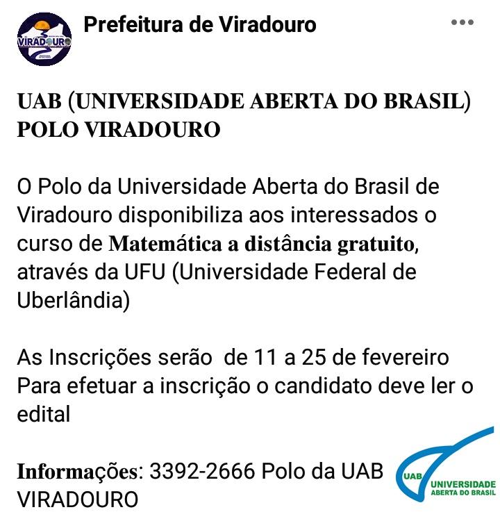 UAB (UNIVERSIDADE ABERTA DO BRASIL) POLO VIRADOURO