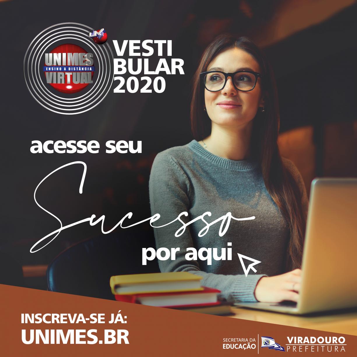 INSCRIÇÕES ABERTAS PARA O VESTIBULAR UNIMES 2020.