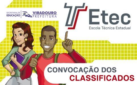 CONVOCAÇÃO CLASSIFICADOS DA ETEC