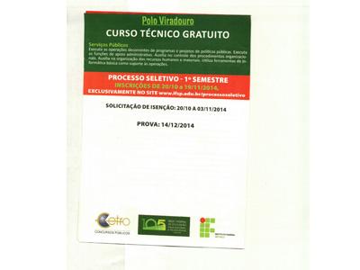 POLO VIRADOURO - CURSO TÉCNICO GRATUITO.